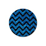 CHEVRON9 BLACK MARBLE & DEEP BLUE WATER (R) Magnet 3  (Round) Front