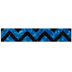 Chevron9 Black Marble & Deep Blue Water (r) Flano Scarf (large)