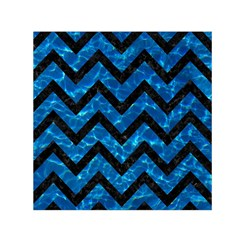 Chevron9 Black Marble & Deep Blue Water (r) Small Satin Scarf (square)