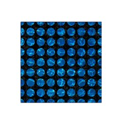 Circles1 Black Marble & Deep Blue Water Satin Bandana Scarf