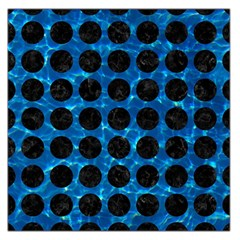 Circles1 Black Marble & Deep Blue Water (r) Large Satin Scarf (square)