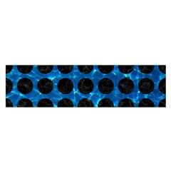 Circles1 Black Marble & Deep Blue Water (r) Satin Scarf (oblong)
