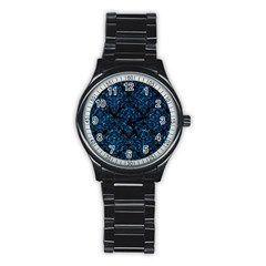 Damask1 Black Marble & Deep Blue Water Stainless Steel Round Watch