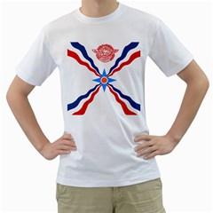 Assyrian Flag  Men s T Shirt (white) (two Sided)