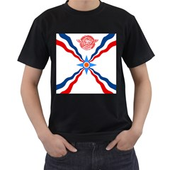 Assyrian Flag  Men s T Shirt (black) (two Sided)