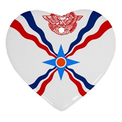 Assyrian Flag  Heart Ornament (two Sides)