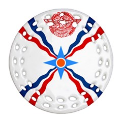 Assyrian Flag  Round Filigree Ornament (two Sides)