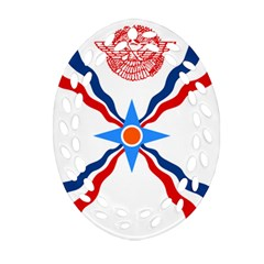 Assyrian Flag  Oval Filigree Ornament (two Sides)