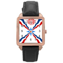 Assyrian Flag  Rose Gold Leather Watch