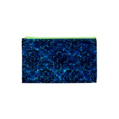 Damask1 Black Marble & Deep Blue Water (r) Cosmetic Bag (xs)