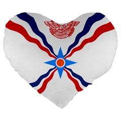 Assyrian Flag  Large 19  Premium Flano Heart Shape Cushions