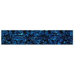 Damask2 Black Marble & Deep Blue Water Flano Scarf (small)