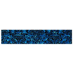 Damask2 Black Marble & Deep Blue Water (r) Flano Scarf (small)