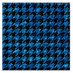 Houndstooth1 Black Marble & Deep Blue Water Large Satin Scarf (square)