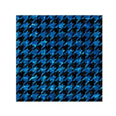 Houndstooth1 Black Marble & Deep Blue Water Small Satin Scarf (square)