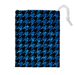 Houndstooth1 Black Marble & Deep Blue Water Drawstring Pouches (extra Large)