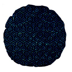 Hexagon1 Black Marble & Deep Blue Water Large 18  Premium Round Cushions