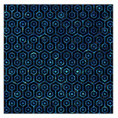 Hexagon1 Black Marble & Deep Blue Water Large Satin Scarf (square)