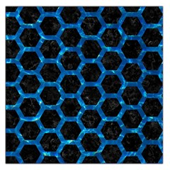 Hexagon2 Black Marble & Deep Blue Water Large Satin Scarf (square)