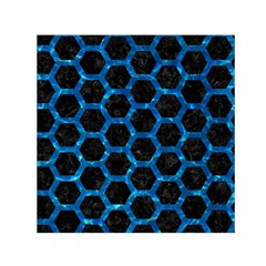 Hexagon2 Black Marble & Deep Blue Water Small Satin Scarf (square)