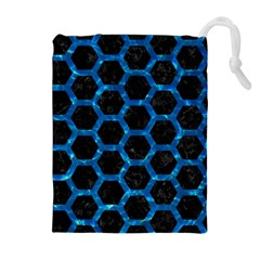 Hexagon2 Black Marble & Deep Blue Water Drawstring Pouches (extra Large)