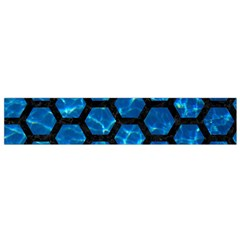 Hexagon2 Black Marble & Deep Blue Water (r) Flano Scarf (small)