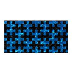 Puzzle1 Black Marble & Deep Blue Water Satin Wrap