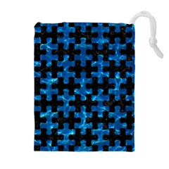 Puzzle1 Black Marble & Deep Blue Water Drawstring Pouches (extra Large)