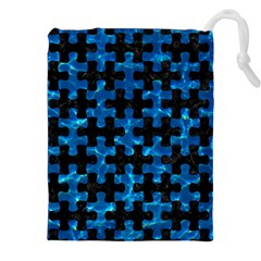 Puzzle1 Black Marble & Deep Blue Water Drawstring Pouches (xxl)