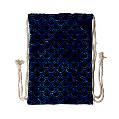 Scales2 Black Marble & Deep Blue Waterck Marble & Deep Blue Water Drawstring Bag (small)