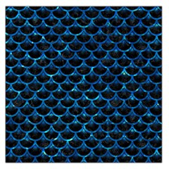 Scales3 Black Marble & Deep Blue Water Large Satin Scarf (square)