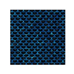 Scales3 Black Marble & Deep Blue Water Small Satin Scarf (square)