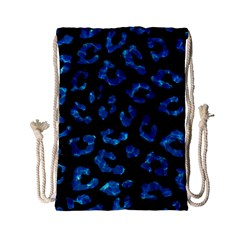 Skin5 Black Marble & Deep Blue Water (r) Drawstring Bag (small)