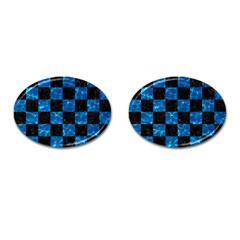 Square1 Black Marble & Deep Blue Water Cufflinks (oval)