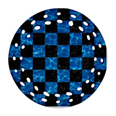 Square1 Black Marble & Deep Blue Water Ornament (round Filigree)