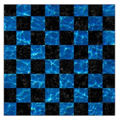 Square1 Black Marble & Deep Blue Water Large Satin Scarf (square)