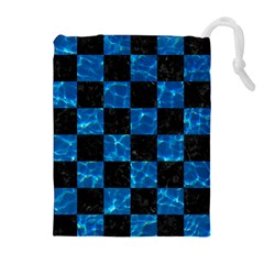 Square1 Black Marble & Deep Blue Water Drawstring Pouches (extra Large)