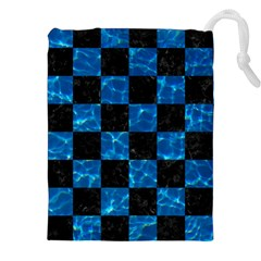 Square1 Black Marble & Deep Blue Water Drawstring Pouches (xxl)