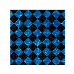 Square2 Black Marble & Deep Blue Water Small Satin Scarf (square)