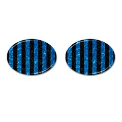 Stripes1 Black Marble & Deep Blue Water Cufflinks (oval)