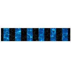 Stripes1 Black Marble & Deep Blue Water Flano Scarf (large)