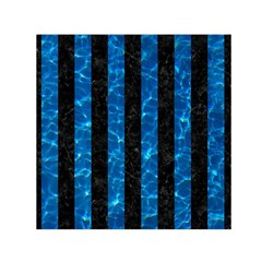 Stripes1 Black Marble & Deep Blue Water Small Satin Scarf (square)