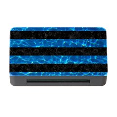 Stripes2 Black Marble & Deep Blue Water Memory Card Reader With Cf