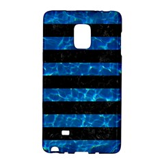 Stripes2 Black Marble & Deep Blue Water Galaxy Note Edge
