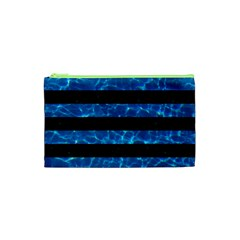 Stripes2 Black Marble & Deep Blue Water Cosmetic Bag (xs)