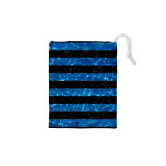 Stripes2 Black Marble & Deep Blue Water Drawstring Pouches (xs)