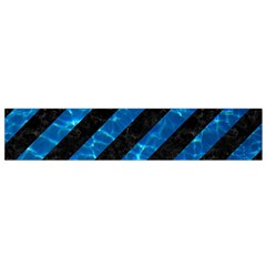 Stripes3 Black Marble & Deep Blue Water Flano Scarf (small)