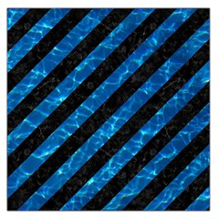 Stripes3 Black Marble & Deep Blue Water Large Satin Scarf (square)