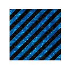 Stripes3 Black Marble & Deep Blue Water Small Satin Scarf (square)