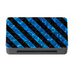 Stripes3 Black Marble & Deep Blue Water (r) Memory Card Reader With Cf
